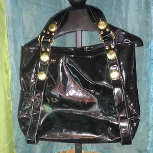 Big Budda patent black tote